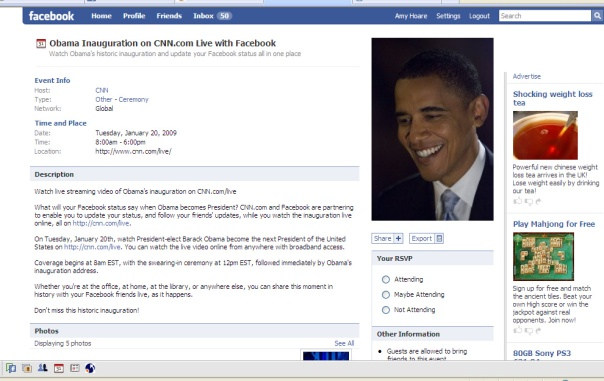 Obama Inaugaration LIVE with Facebook